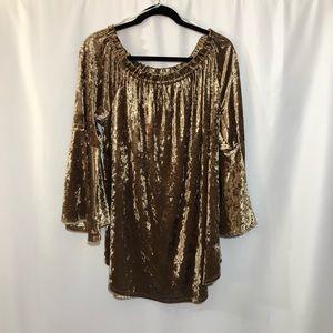 Romantic Gold velvet tunic off the shoulder top